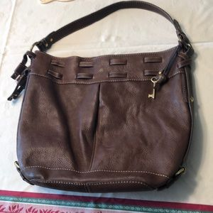 Fossil brown leather bag with key